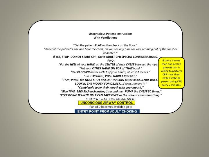 Unconscious Patient Instructions