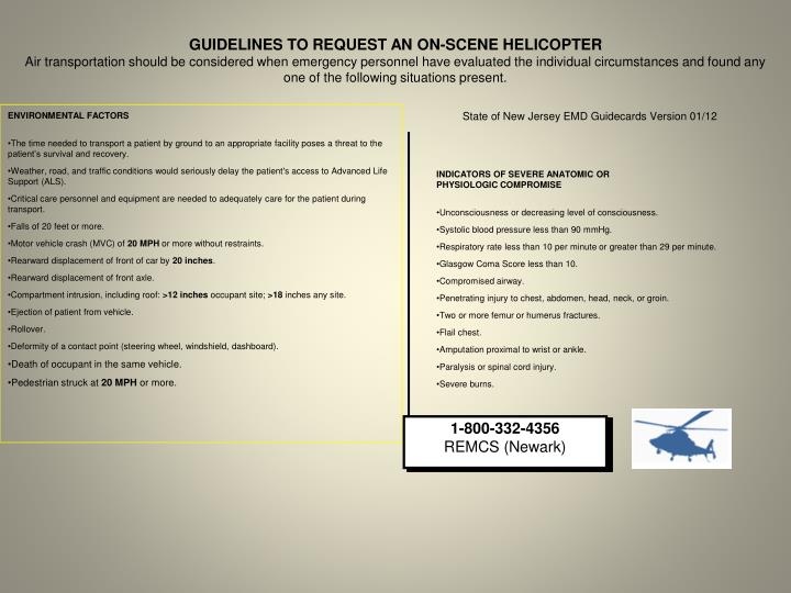 GUIDELINES TO REQUEST AN ON-SCENE HELICOPTER