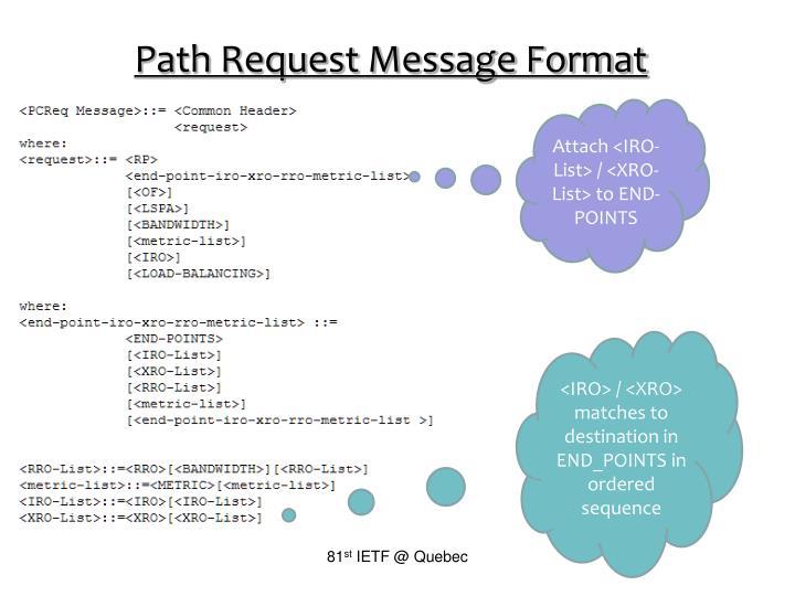 Path Request Message Format