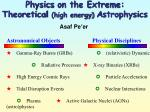 physics on the extreme theoretical high energy a strophysics2