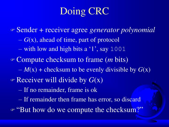 Doing CRC