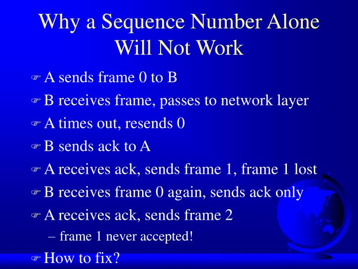 Why a Sequence Number Alone Will Not Work