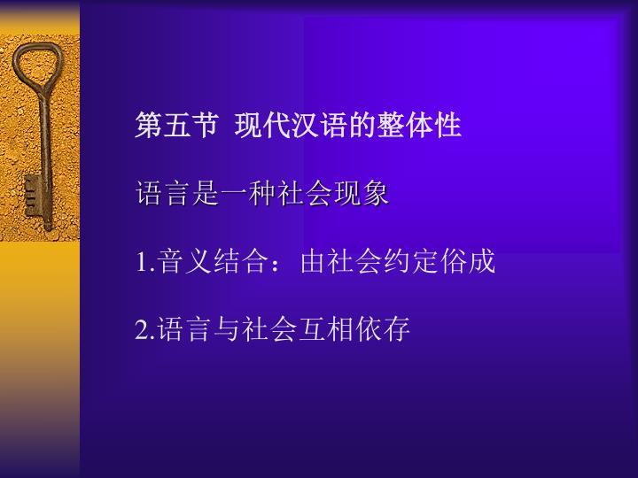 第五节  现代汉语的整体性