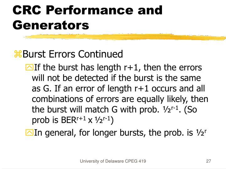CRC Performance and Generators