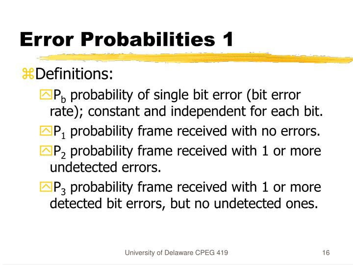 Error Probabilities 1