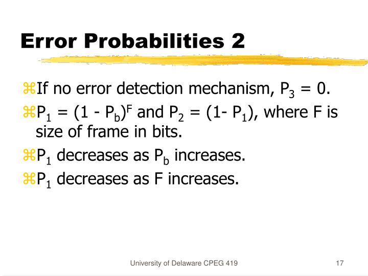 Error Probabilities 2