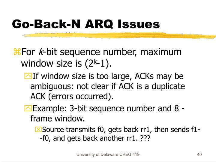 Go-Back-N ARQ Issues