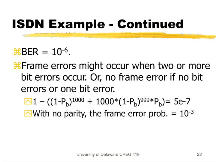 ISDN Example - Continued