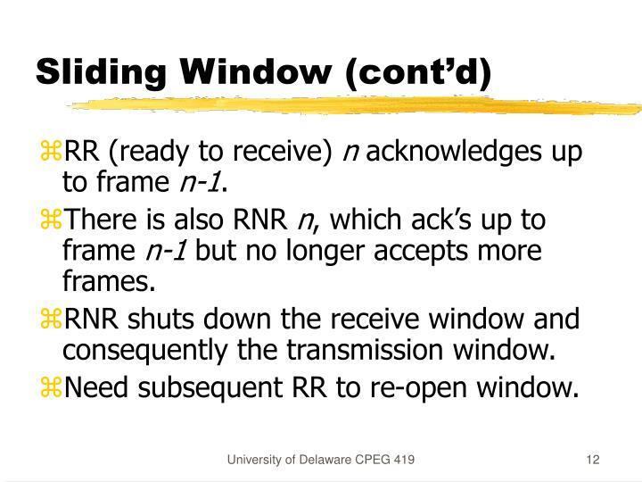 Sliding Window (cont'd)