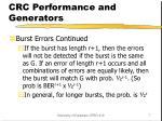 crc performance and generators1