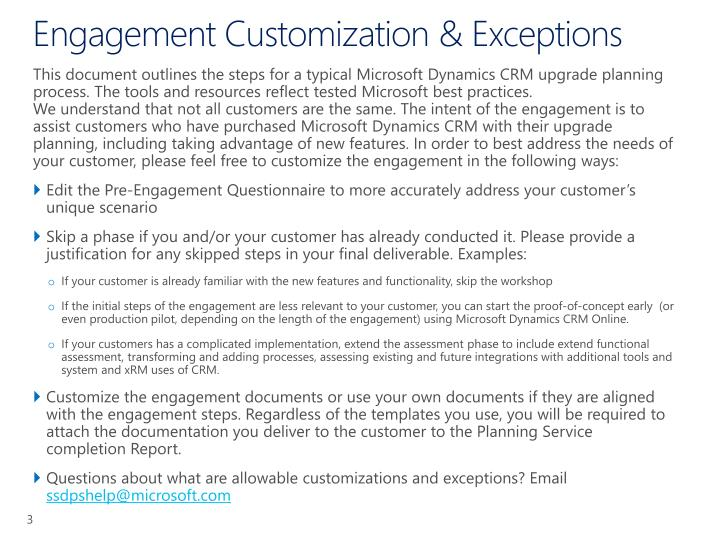 Engagement customization exceptions