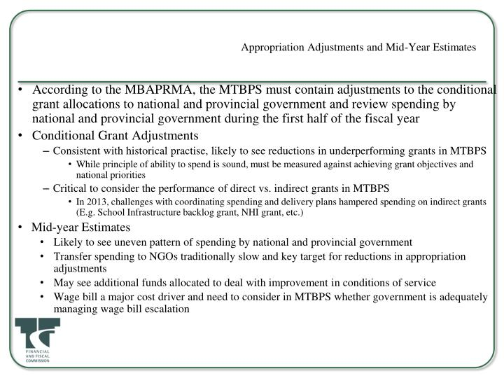 Appropriation Adjustments and Mid-Year Estimates