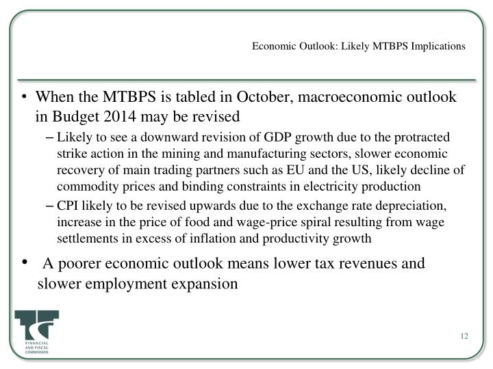 Economic Outlook: Likely MTBPS Implications