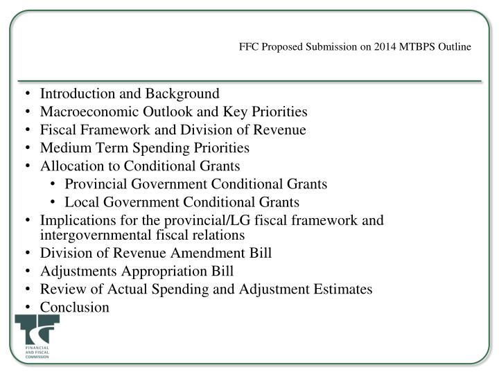 FFC Proposed Submission on 2014 MTBPS Outline
