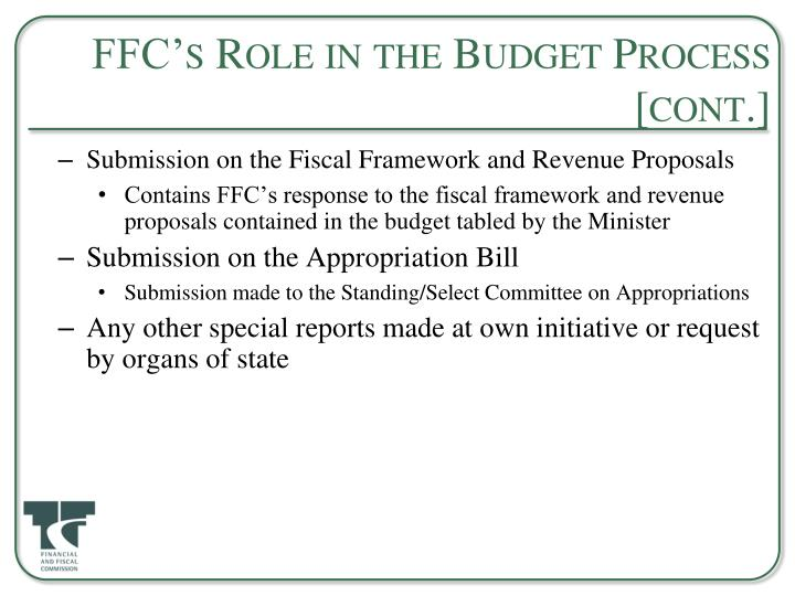FFC's Role in the Budget