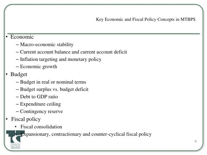 Key Economic and Fiscal Policy Concepts in MTBPS
