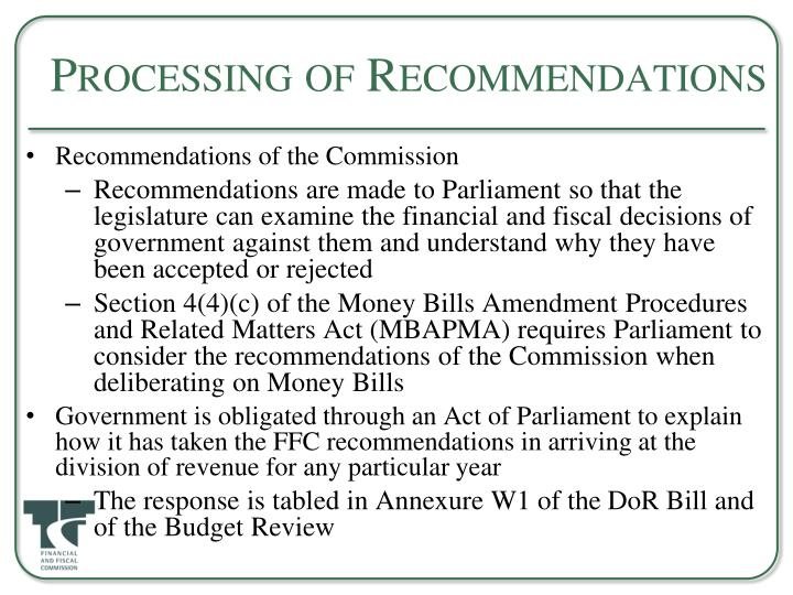 Processing of Recommendations
