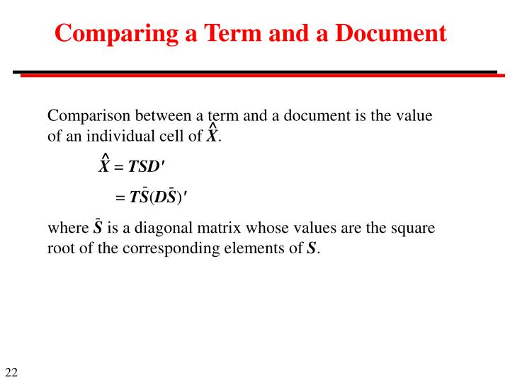 Comparing a Term and a Document