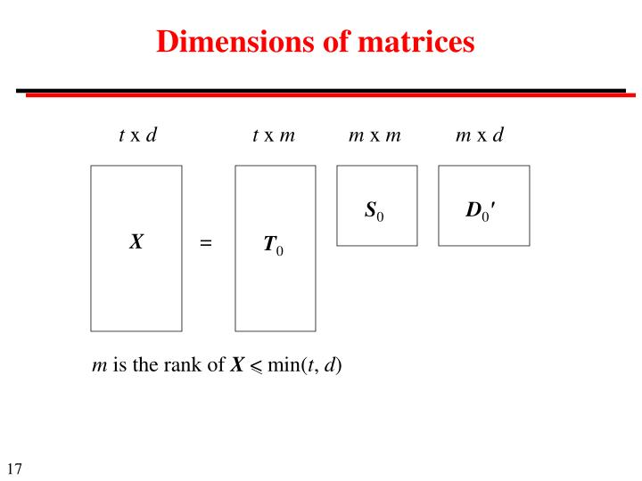 Dimensions of matrices