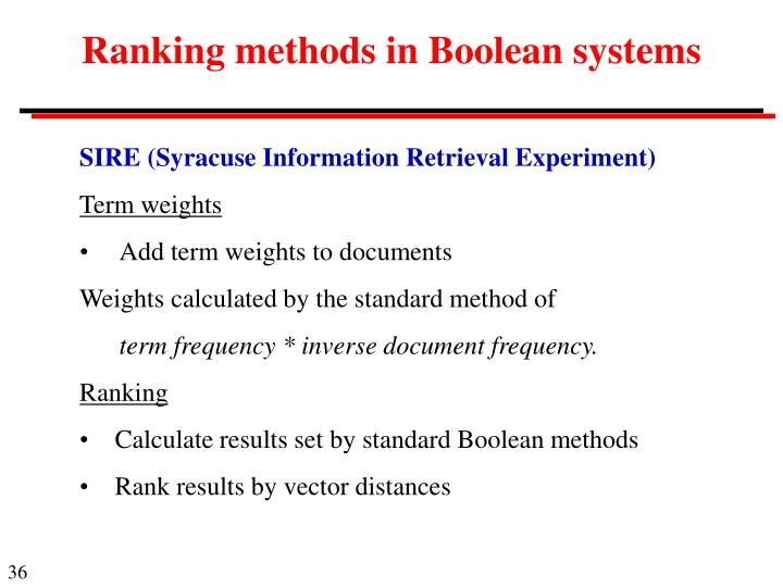 Ranking methods in Boolean systems