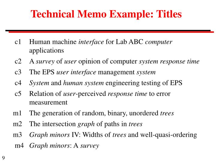 Technical Memo Example: Titles