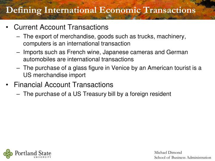 Defining International Economic Transactions
