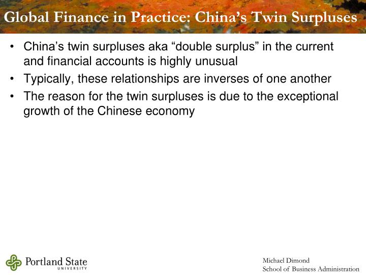 Global Finance in Practice: China's Twin Surpluses