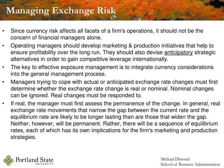 Managing Exchange Risk