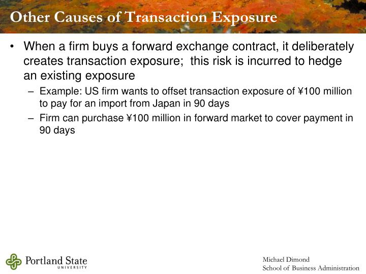 Other Causes of Transaction Exposure