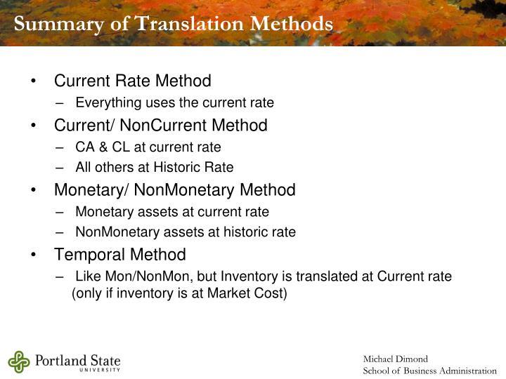 Summary of Translation Methods