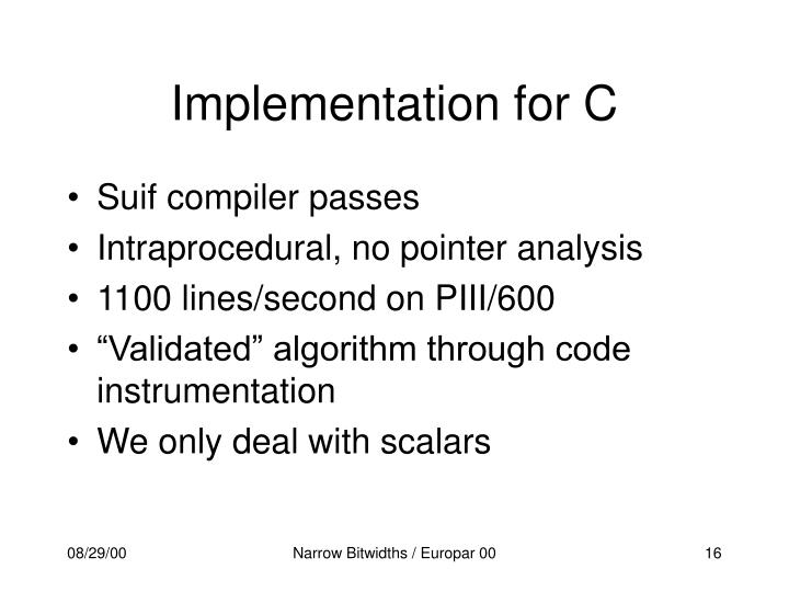 Implementation for C