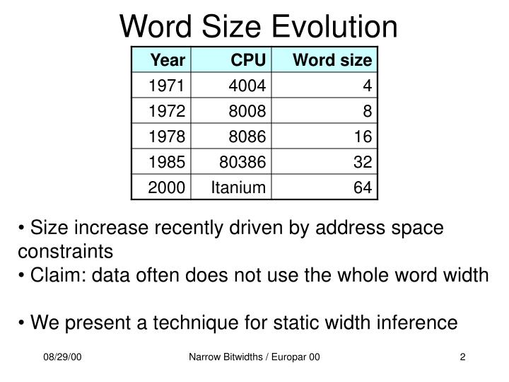 Word size evolution