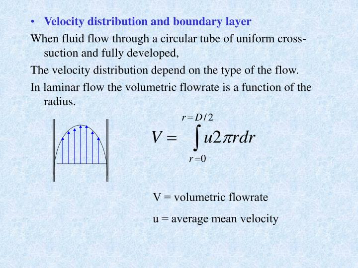 Velocity distribution and boundary layer