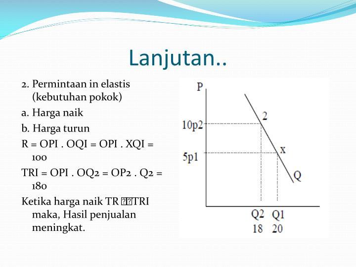 2. Permintaan in elastis (kebutuhan pokok)
