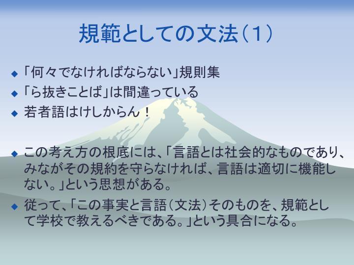 規範としての文法(1)