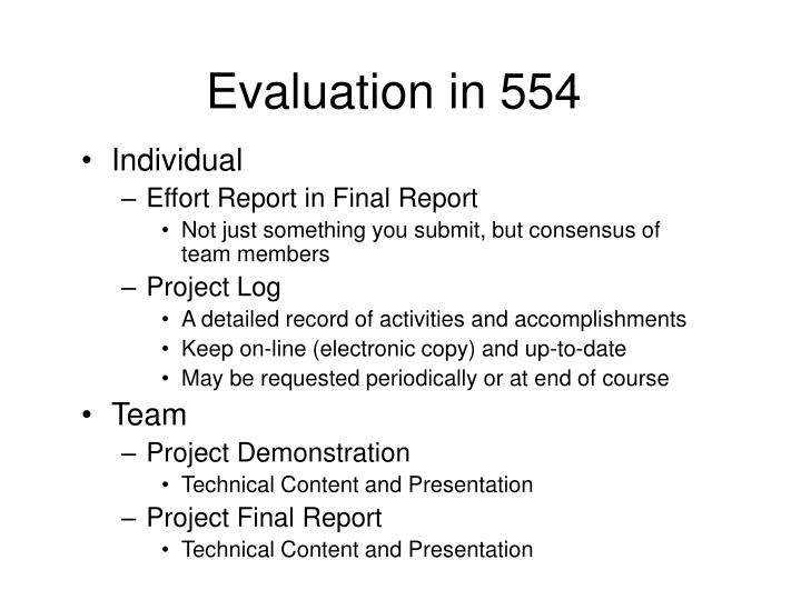 Evaluation in 554