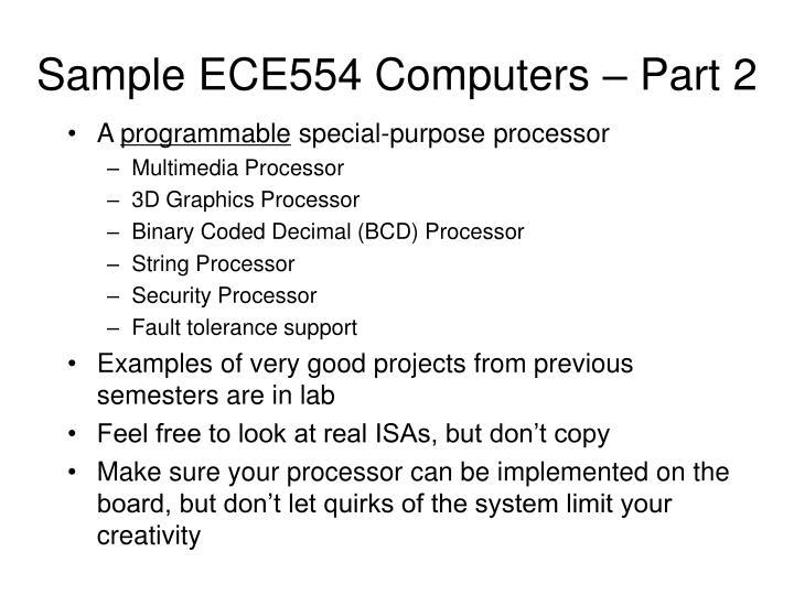 Sample ECE554 Computers – Part 2