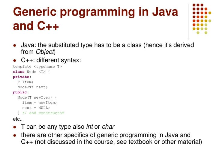 Generic programming in Java and C++