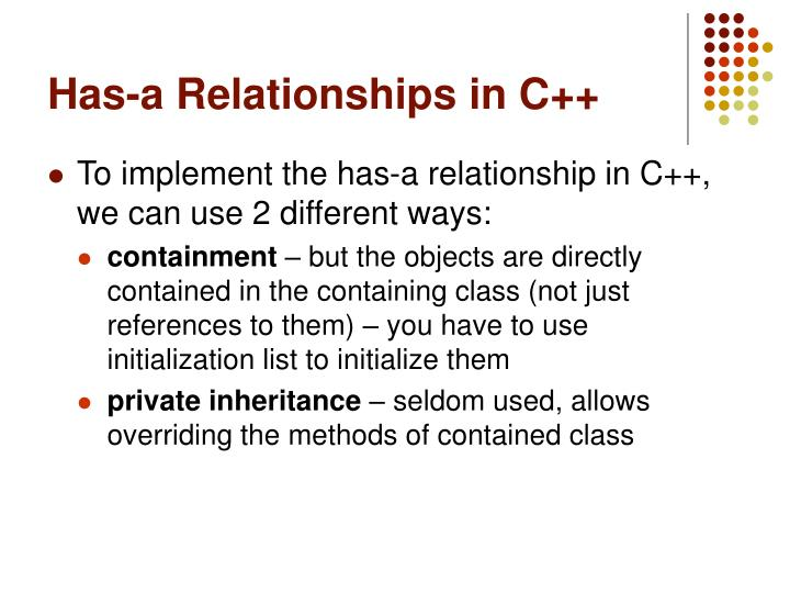 Has a relationships in c