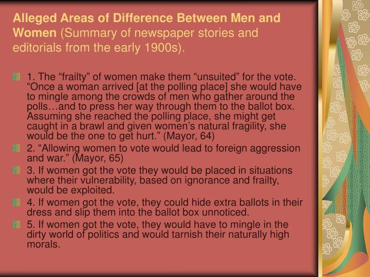 Alleged Areas of Difference Between Men and Women