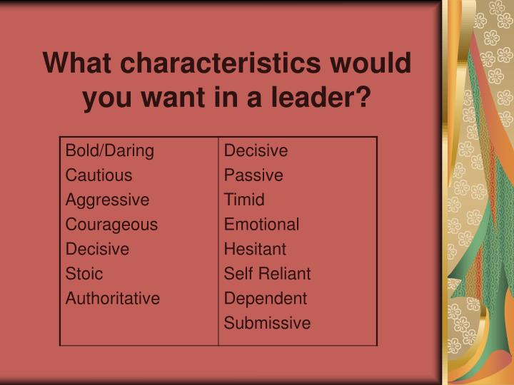 What characteristics would you want in a leader
