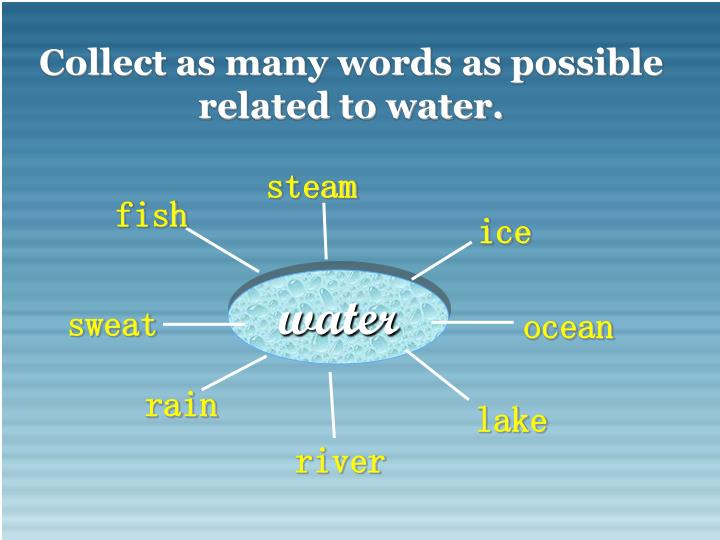 Collect as many words as possible related to water.