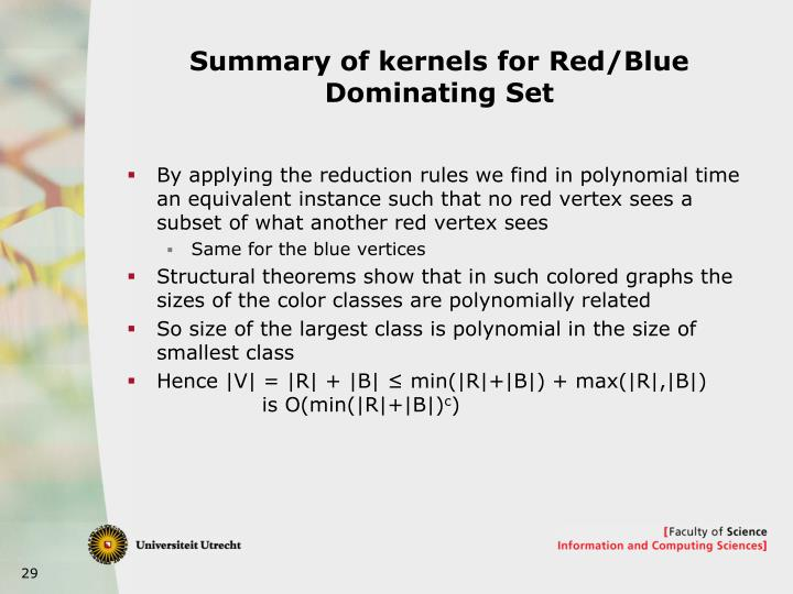 Summary of kernels for Red/Blue Dominating Set