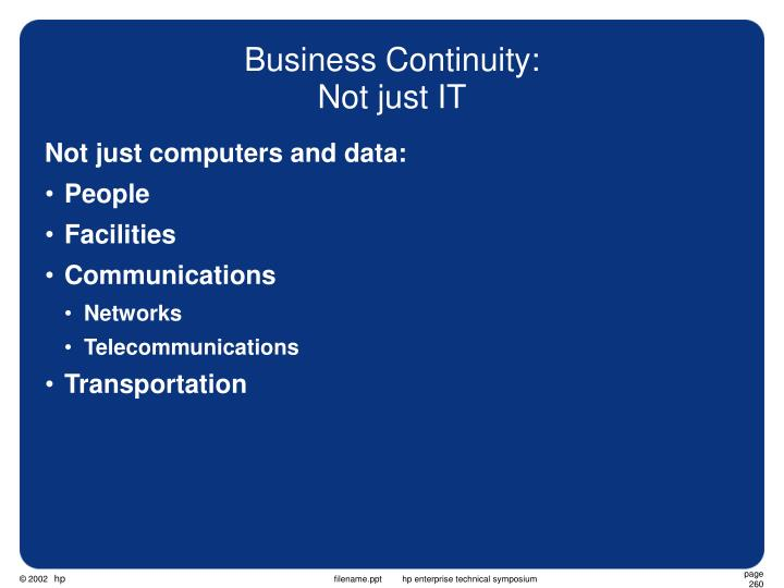 Business Continuity: