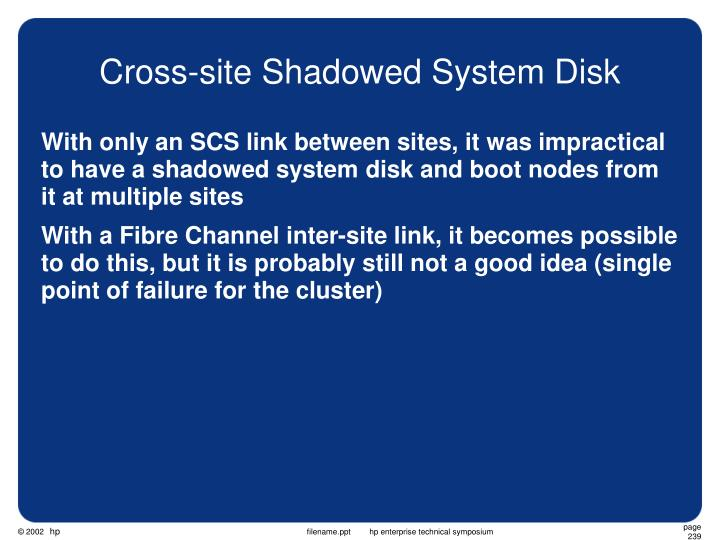 Cross-site Shadowed System Disk