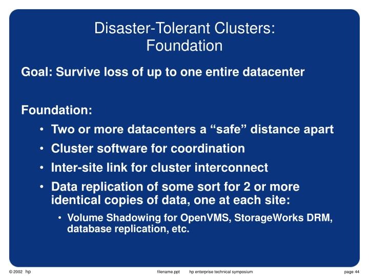 Disaster-Tolerant Clusters:
