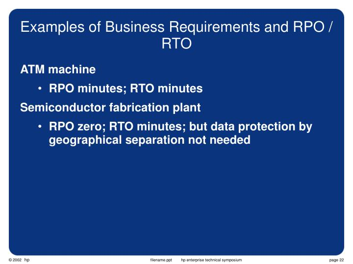 Examples of Business Requirements and RPO / RTO