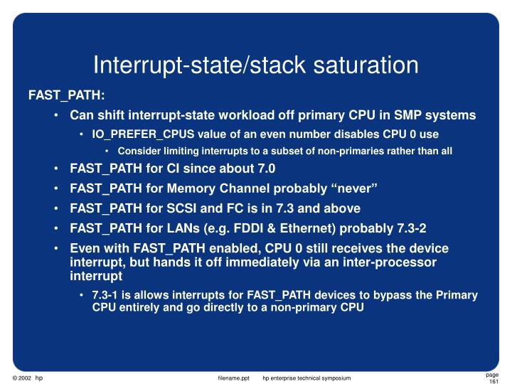 Interrupt-state/stack saturation