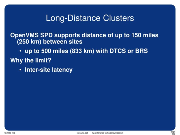 Long-Distance Clusters