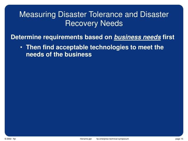 Measuring Disaster Tolerance and Disaster Recovery Needs